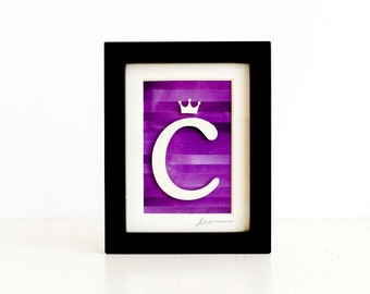 C is for Crown, mini cut paper collage with frame