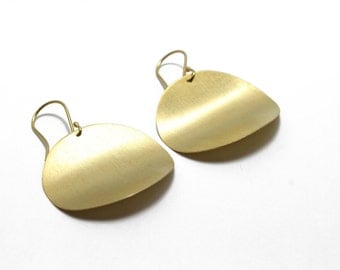 Large Gold Disc Earrings in 24k Yellow Gold Vermeil Over Sterling Silver 925