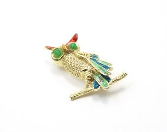 Golden Vintage Owl Brooch Pin Stamper Sterling  with 14k Vermeil