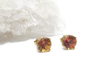 14k Gold Stud Earrings with Peach Tourmaline 8mm