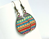 bohemian geometric drop earrings, colorful, boho, hippie, brass, tribal