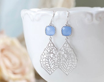 Cornflower Blue Earrings Silver Paisley Filigree Earrings Blue Glass Dangle Earrings Drop Earrings Something Blue Wedding Bridesmaid Gift