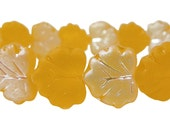 Czech  Glass Maple Leaf Beads, 10x13mm, Golden AB, Qty:10
