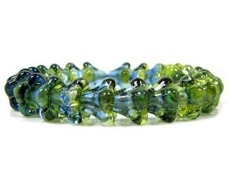 Czech  Glass Beads,11 X 13mm, Green Aquamarine Bell Flower, Qty: 10
