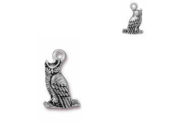 Antique, Fine Silver Plated, Owl, 2 Sided Charm, Qty:1