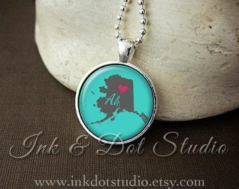 Alaska Necklace, Love Alaska Pendant, Custom State Pendant Alaska Jewelry, Customizable