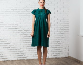 Boho Wedding Dress, Felted Dress, Maternity Dress, Emerald Green Dress, Bridesmaid Dress, Midi Dress, Open Back Dress, Nuno Felt Clothing