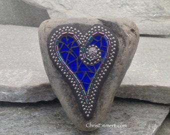 Cobalt Blue Heart - Mosaic Paperweight / Garden Stone