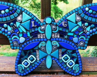 """CUSTOM MOSAIC Butterfly - Your Color Choice - This One is Shades of Blues, Teals & Silver w Glass, Tiles, Turquoise Howlite Stones (16""""x10"""")"""