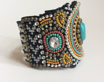 Bead Embroidery Cuff Bracelet