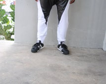 Mens White Drop Crotch Harem Pants / Leather Detail / Mens Joggers / Handmade by GAG THREADS