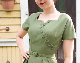 Ollive green 50's style cotton blend wiggle dress for autumn, ooak, size 4