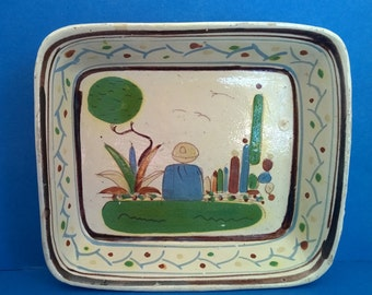 Mexican Folk Art Pottery Bowl - Vintage Hand Painted Tlaquepaque Tonala Jalisco Tourist Ware - Signed Square Dish - Sombrero Man Decoration