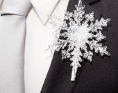 Crystal Snowflake Boutonniere - Winter Wedding Snowflake Boutonniere - Holiday Wedding - Christmas Wedding