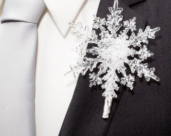 Crystal Snowflake Boutonniere - Winter Wedding Snowflake Boutonniere - Holiday Wedding - Christmas Wedding