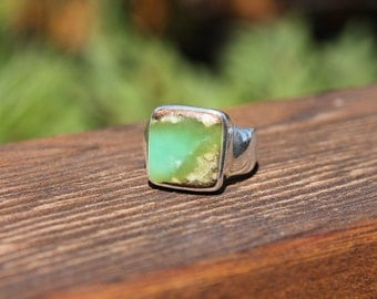 50% OFF!!! Amazing Chrysoprase Rings - US Size 11.5 - Solid Sterling Silver - Chrysoprase Jewelry - Metaphysical