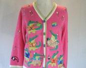 Pink Alligator Tiki Cocktail Party Animal Novelty Sweater Top