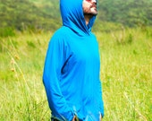 Eco Friendly Hoodie for Men - Organic Clothing - Raglan Sleeve - Blue - Several Color Available