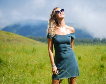 Off Shoulder Mini Dress - Coverup - Beach - Eco Friendly Jersey - Organic Clothing