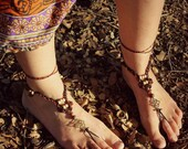 African queen macrame barefoot sandals hippie anklets beaded foot jewelry black and brown