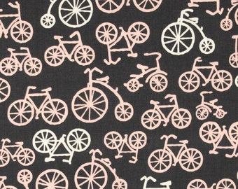 Bicycle Changing Pad Cover - Contoured - Bicycle Print in Pink, Grey, and White