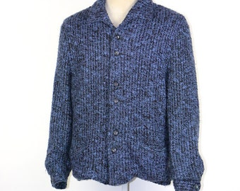 cardigan, men vintage 1950's 50's blue chunky knit button down cardigan, mens size M/L