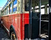 vintage city bus art photo, retro transportation art, rapid transit, city chic, urban loft