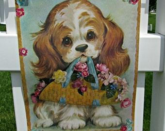 Vintage Big Eye Spaniel Litho Print - Near MINT Condition - Big Eyed Long Eared Spaniel Dog Oil Painting Art Print Ready for Framing
