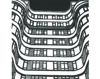 Florin Court, Charterhouse Square, London - Handprinted / Hand pulled Linocut - Edition of 250