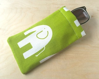 Pinch top fabric sunglasses or eyeglasses case pouch - Green Elephant