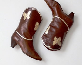 FREE SHIP  vintage Italian leather butterfly boots, high heel boots women's size 8
