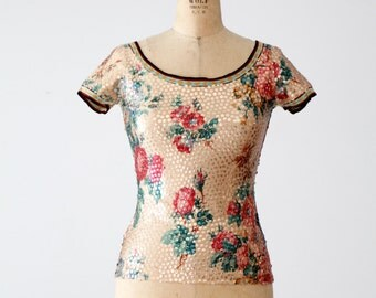 FREE SHIP  vintage Jean Paul Gaultier Maille sequin blouse, short sleeve floral top