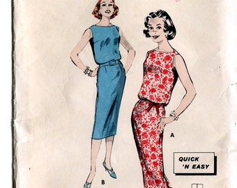 Butterick 8586 Vintage 1950s Teen Junior Sheath Dress B31.5