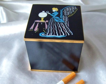 Vintage Cigarette Box Brass Enamel Box Smoking Accessory Table Cigarette Case Mad Men Man Cave Art Deco Style Box Mid Century 1950s
