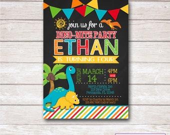 DINOSAUR BOY. Chalkboard Invitation. Party Printable.