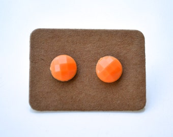 Clearance Sale . Orange Faceted Rounds . Studs . Earrings