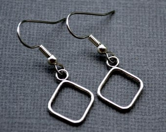 Silver Open Diamonds . Earrings