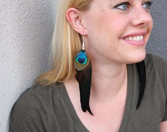 Dramatic Long Earrings with Green and Black Peacock and Rooster Feathers