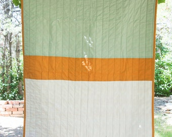 Mint and Gold Colorblock Quilt - Lap Quilt - Baby Quilt - Throw Quilt