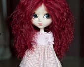 1/3 Size Short Wine Red Wavy Tibetan Mohair Wig for Volks BJD SD MSD Pullip and Rosenlied Holiday Dolls