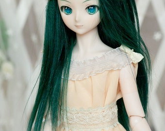 Dark Green Mohair Straight Wig for Volks BJD SD Pullip Dolls (Elastic Size)