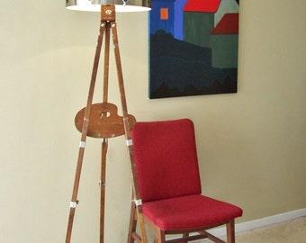 Vintage Artist Floor Lamp Assemblage Antique Anco Bilt Wood Easel Curved Artist Palette Mid Century Metal Shade Glass Cabochons OOAK
