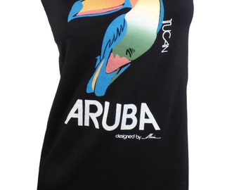 Colorful Graphic 1980s Aruba Tucan Reshaped T-Shirt / Dress Sz. S/M