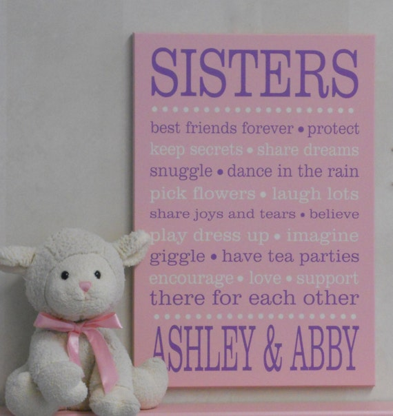 Welcome Baby Sister Quotes: SISTERS Sister Sayings. Sisters Sign. Sister Personalized
