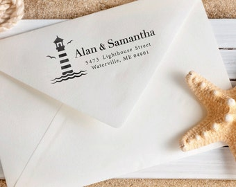 Personalized Address Stamp - Nautical Stamp - Custom Address Stamp - Lighthouse - Maritime Stamp - Housewarming - DIY Printing - Unique Gift
