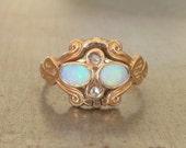 Antique Opal Engagement Ring-Unique Engagement Ring-Opal Diamond Ring-Opal Rose Cut Diamond Ring-Art Nouveau Engagement Ring- Edwardian Ring