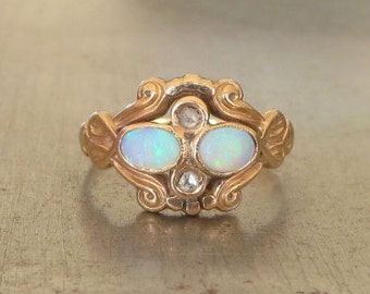 Opal Engagement Ring-Unique Engagement Ring-Vintage Opal Diamond Ring-Opal Rose Cut Diamond Ring-Art Nouveau Engagement Ring- Edwardian Ring