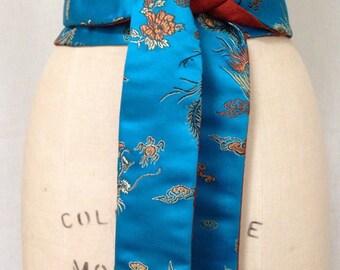 Turquoise Chinese Brocade & Rust Orange Silk Shantung Reversible Obi Sash