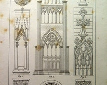 1852 ancient Gothic ornaments decoration print, antique vintage architecture designs engraving, original art decorations style pattern plate