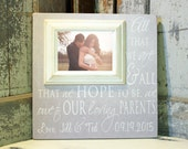 Parent of the Bride Gift Picture Frame, Thank You Gift, Personalize Picture Frame, Parent Wedding Gift 16x16